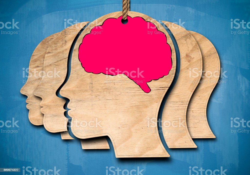 Human brain / Blue Blackboard concept (Click for more) stock photo