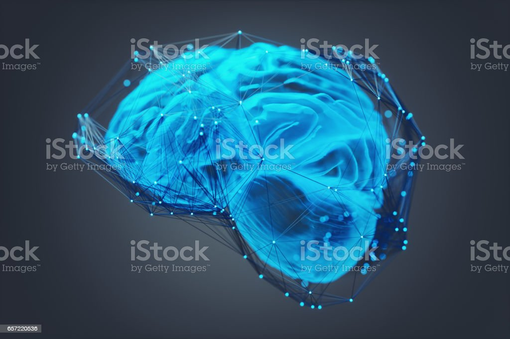 Human Brain Covered With Networks stock photo