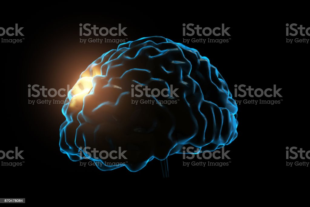 Human brain impulse . Mixed media 3d illustration on black isolated background stock photo