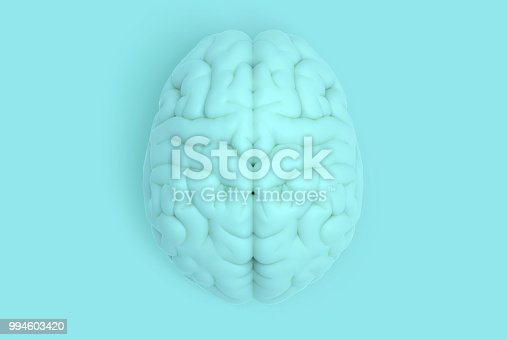 istock Human brain in top view isolated on blue pastel BG 994603420