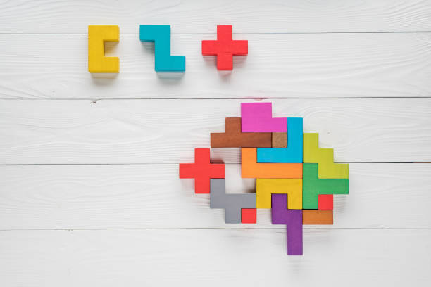 Human brain is made of multi-colored wooden blocks. Creative medical or business concept. Logical tasks. Conundrum find the missing piece of the proposed. stock photo