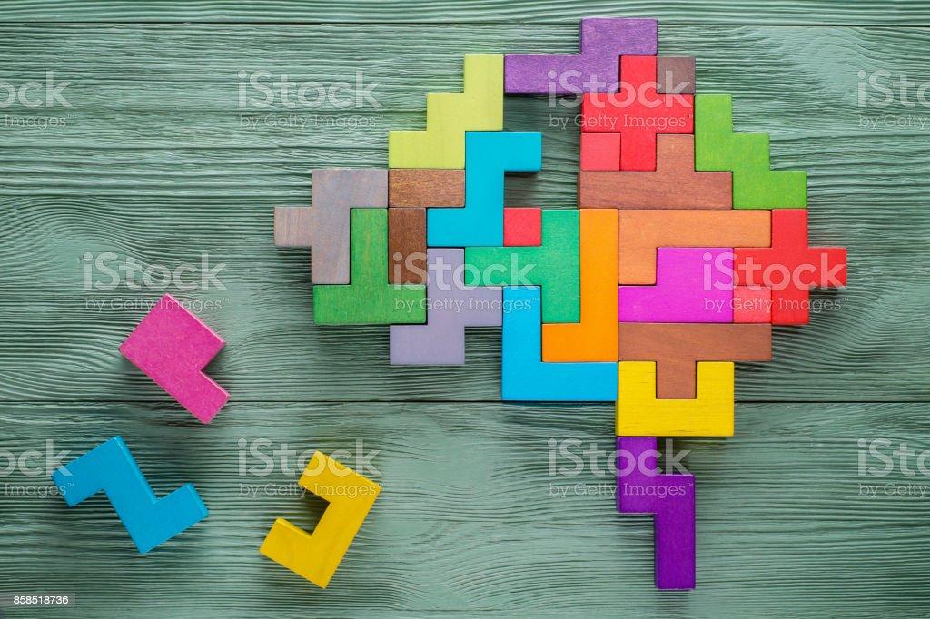 Menschliches Gehirn besteht aus bunten Holzklötzen. - Lizenzfrei Abstrakt Stock-Foto