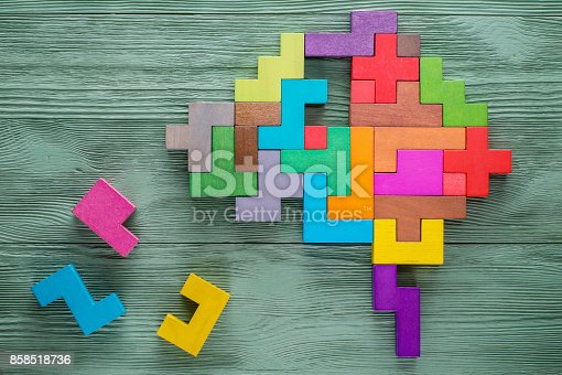 istock Human brain is made of multi-colored wooden blocks. 858518736