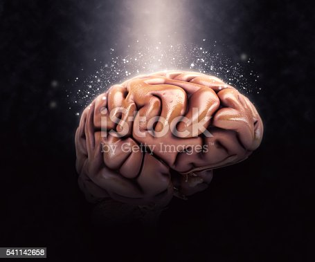 istock 3D human brain on dramatic background 541142658