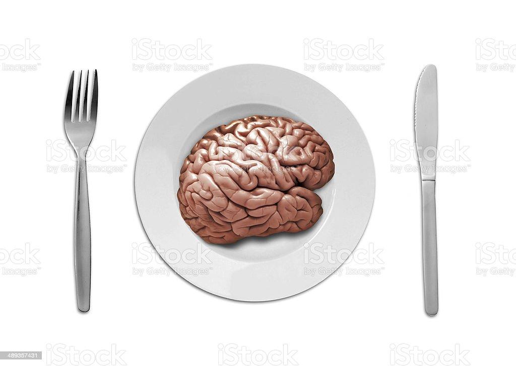 human brain on plate stock photo
