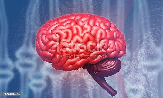 585087100 istock photo Human brain on science background 1180553002