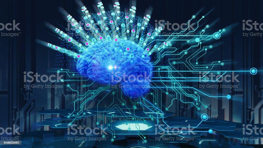 cerebro humano en el fondo de tecnología - foto de stock