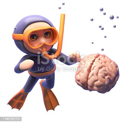 Human brain sinks in the sea as perturbed snorkel diver looks on, 3d illustration render