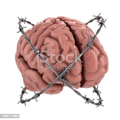 istock human brain under barbwire over white background 488117983