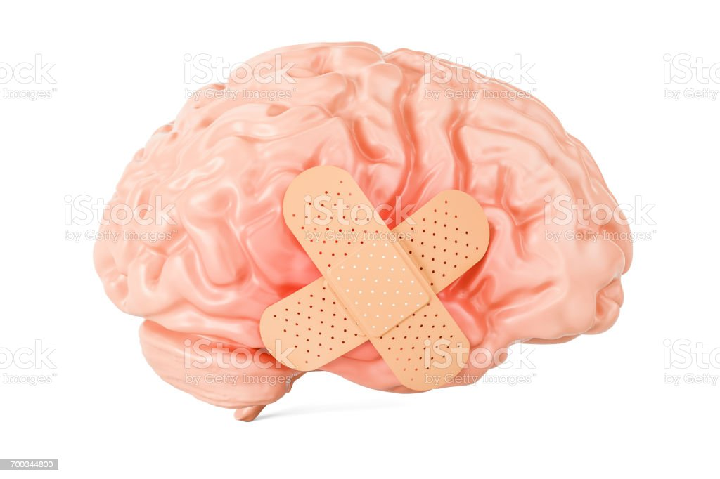 Human brain with adhesive plaster, 3D rendering isolated on white background stock photo