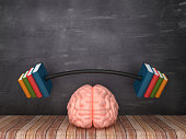 Human Brain with Books Barbell on Wood Floor - Chalkboard Background - 3D Rendering