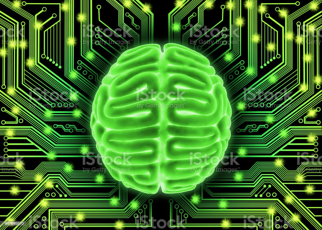 Human brain with electric circuit stock photo
