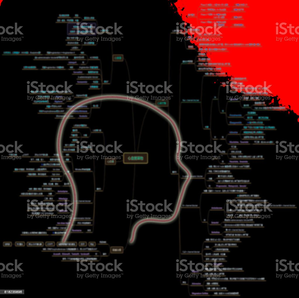 Human brain with lot of note need to remember stock photo