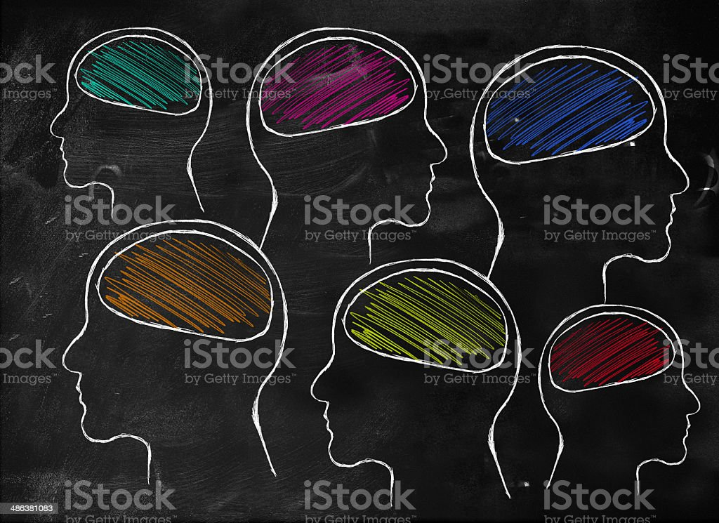 Human brain with many colors royalty-free stock photo