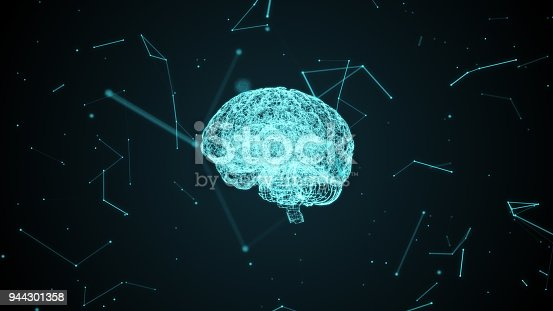 864460734istockphoto Human brain with neural cells formed by particles inside a digital cyberspace. 944301358