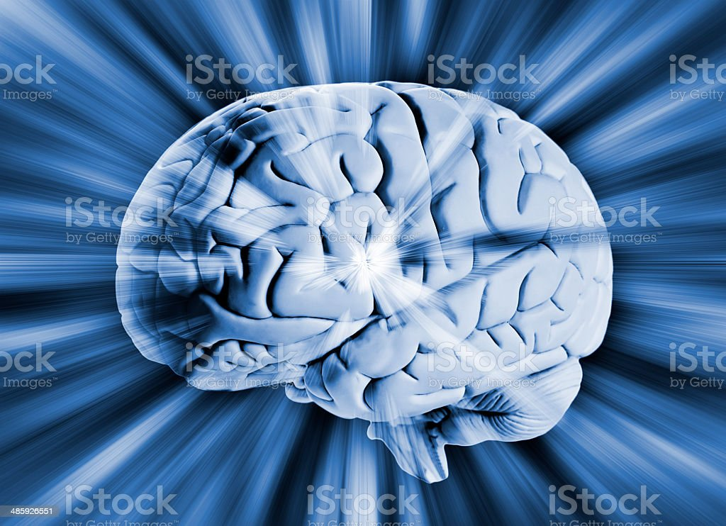 Human brain with streaks of energy royalty-free stock photo
