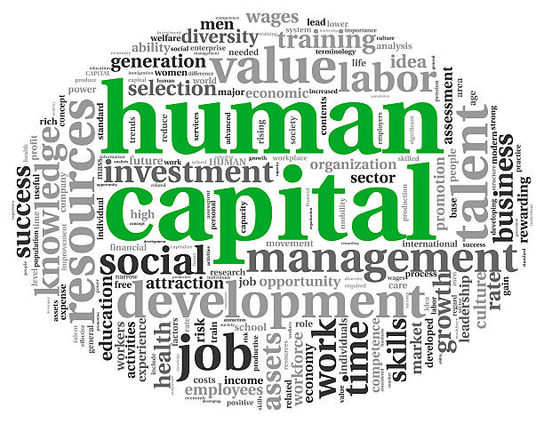 Human capital concept in tag cloud stock photo