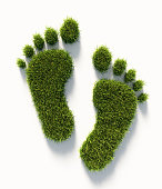 Human carbon footprint symbol made of green grass on white background. Vertical composition with copy space.  Clipping path is included. Green energy concept.