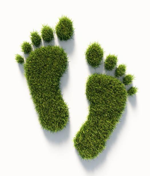 menschlichen carbon footprint symbol des grünen grases gemacht: grüne energiekonzept - fußspuren stock-fotos und bilder