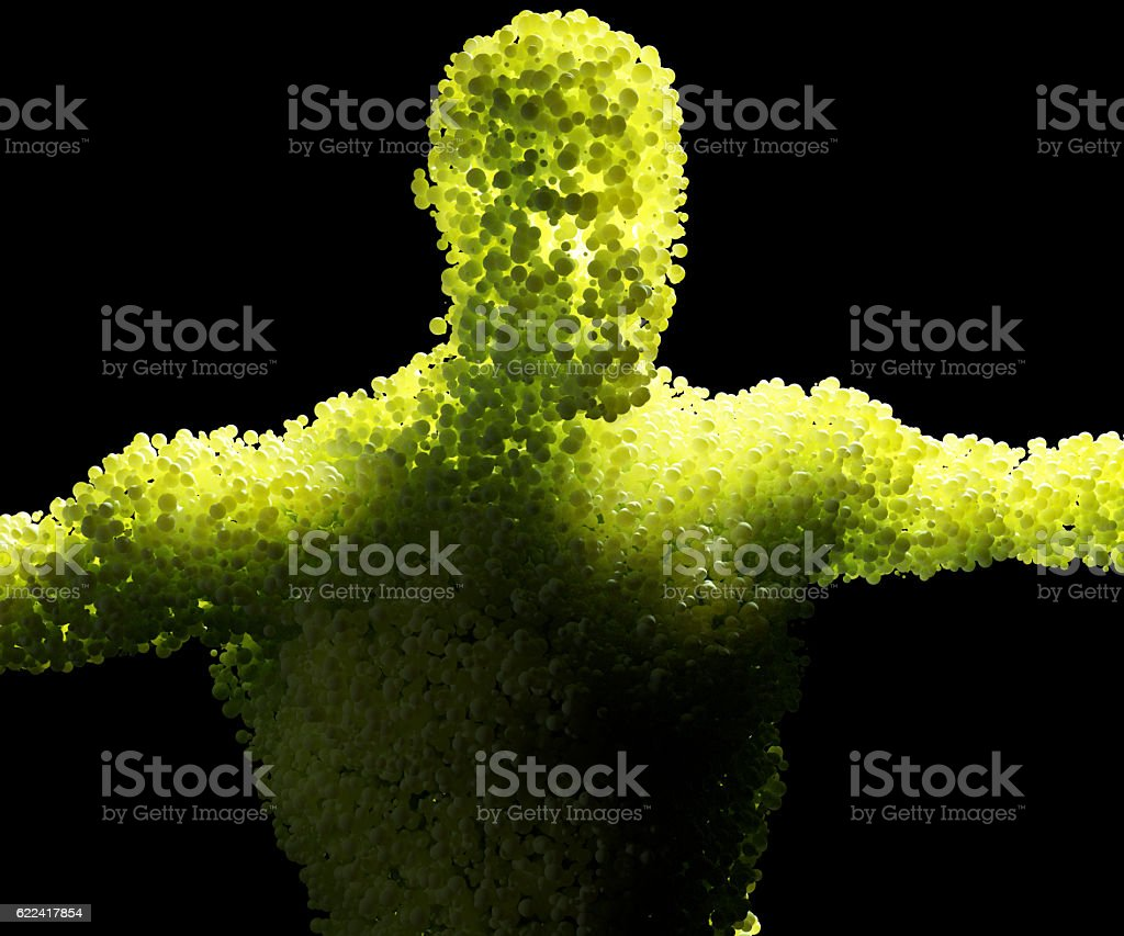Human cells, bubbles, spheres, composition of human being, connected energy. stock photo