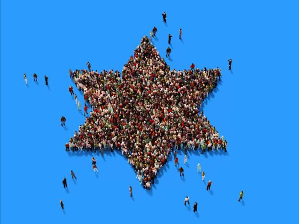 ludzki tłum david's star na niebieskim tle - judaizm zdjęcia i obrazy z banku zdjęć