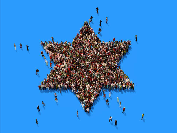 Human Crowd David's Star On Blue Background Human crowd forming a big David's star on blue background. Horizontal  composition with copy space. Clipping path is included. judaism stock pictures, royalty-free photos & images