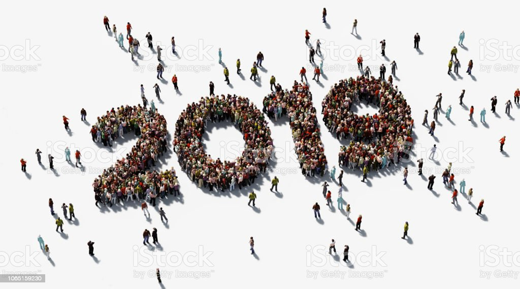 Human Crowd Forming 2019 On White Background stock photo