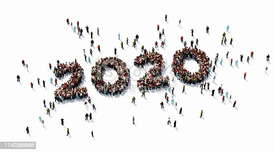 Human crowd forming 2020 on white background. Horizontal  composition with copy space. Directly above. Clipping path is included. 2020 and new year concept.