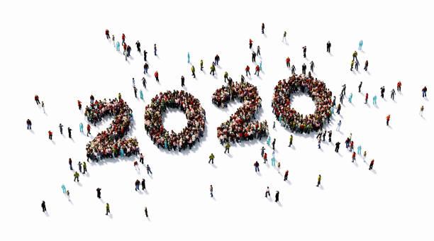 human crowd forming 2020 auf weißem hintergrund - 2020 stock-fotos und bilder