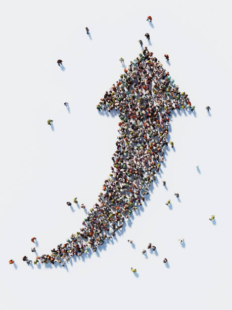 Human Crowd Forming A Big Arrow Symbol : Social Media Concept stock photo
