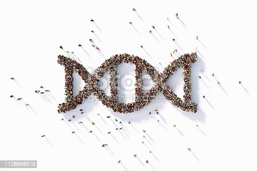 Human crowd forming a big DNA symbol on white background. Horizontal composition with copy space. Clipping path is included.