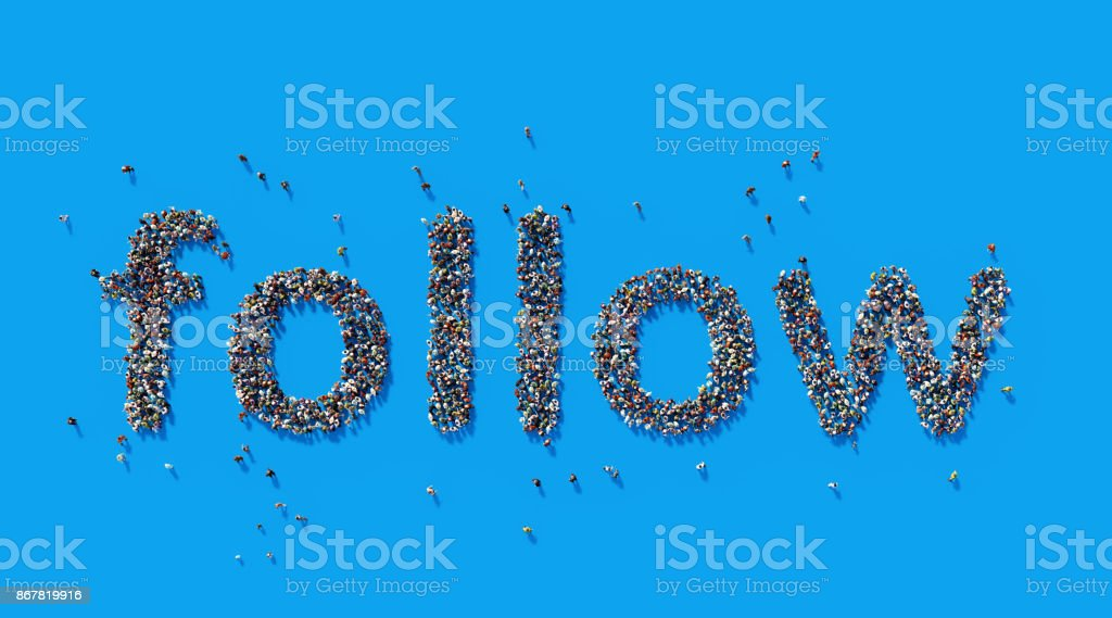Human Crowd Forming A Big Follow Text: Social Media Concept stock photo