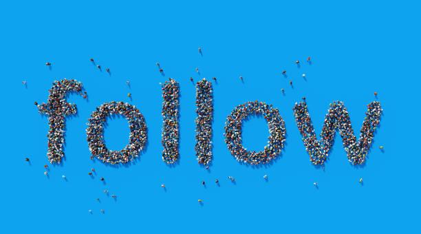 Human Crowd Forming A Big Follow Text: Social Media Concept stock photo