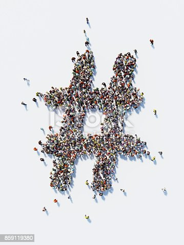 Human crowd forming a big hashtag symbol on white background. Vertical composition with copy space. Clipping path is included. Social Media Concept and Crowdfunding Concept