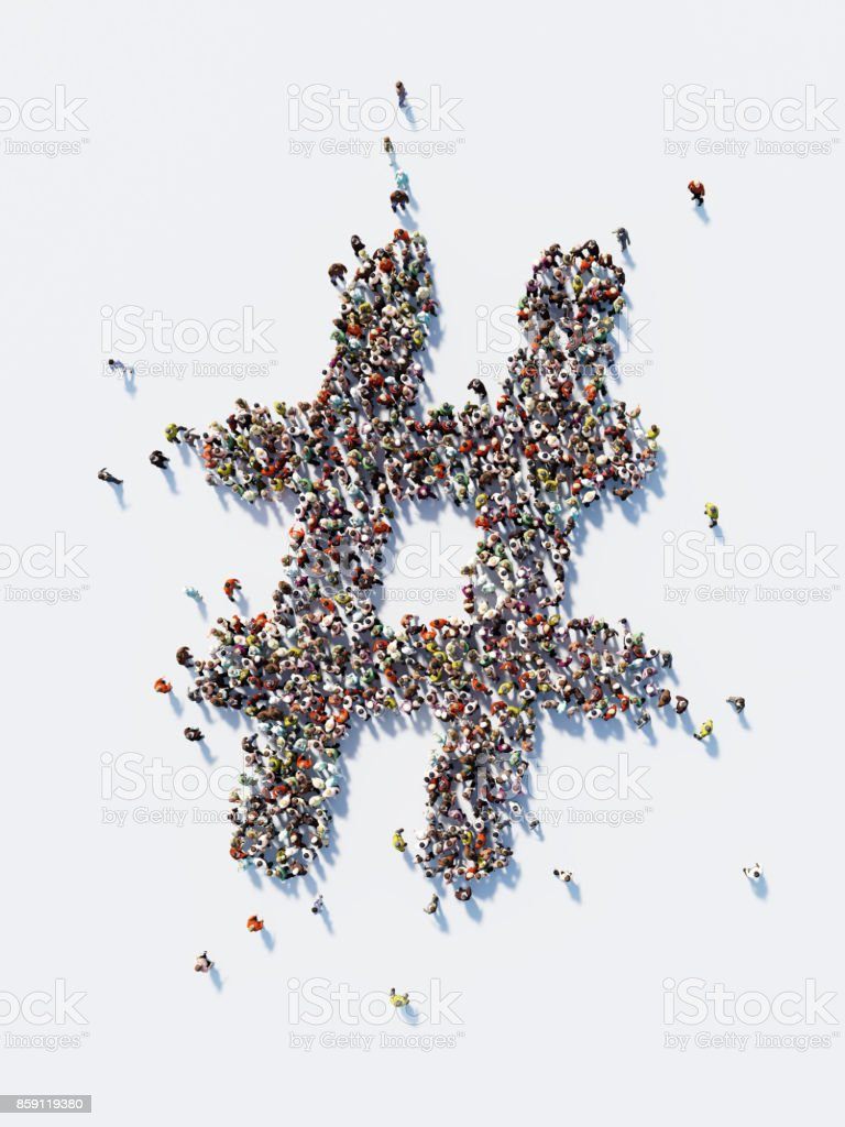 Human Crowd Forming A Big Hashtag Symbol: Social Media Concept and Crowdfunding Concept stock photo