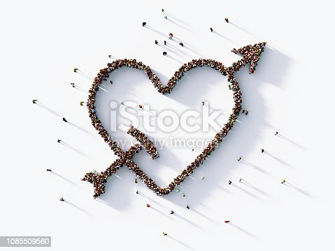 970844120 istock photo Human Crowd Forming A Big Heart And Arrow Symbol : Valentine's Day Concept 1085509560
