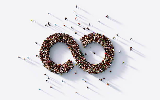 Human Crowd Forming A Big Infinity Symbol - foto stock