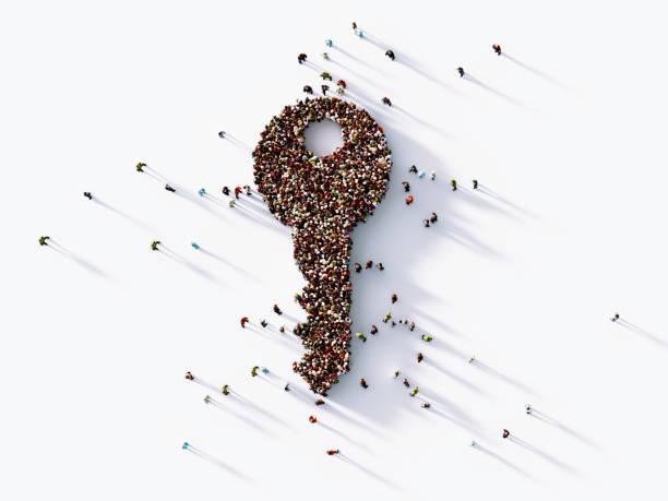 multidão humana que dá forma a um ícone chave grande - chave - fotografias e filmes do acervo