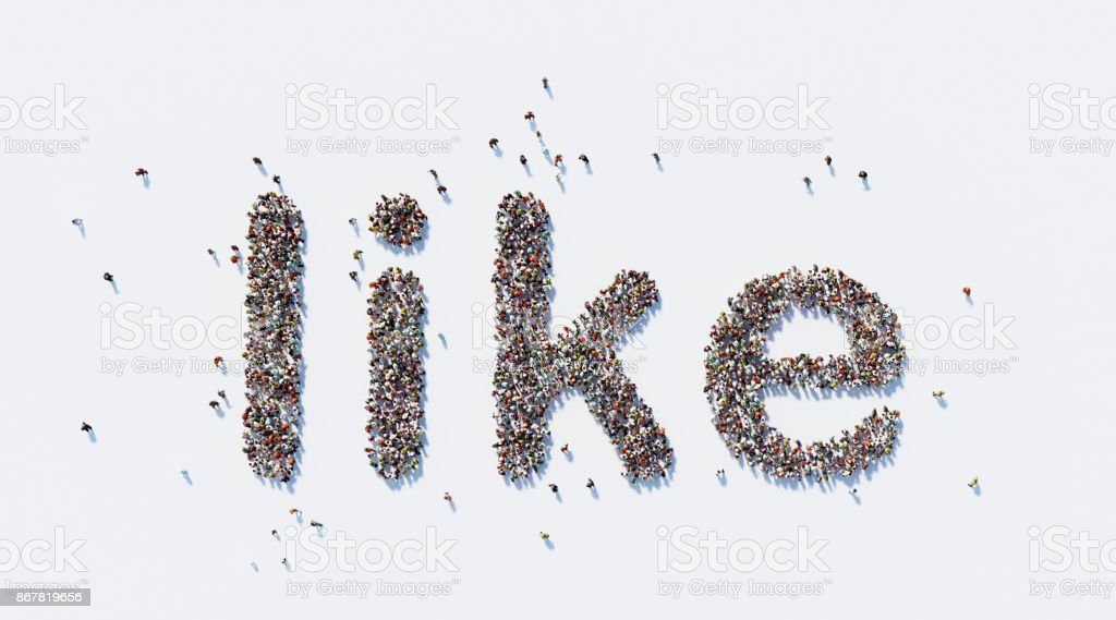 Human crowd forming a big Like text on white background. Horizontal...