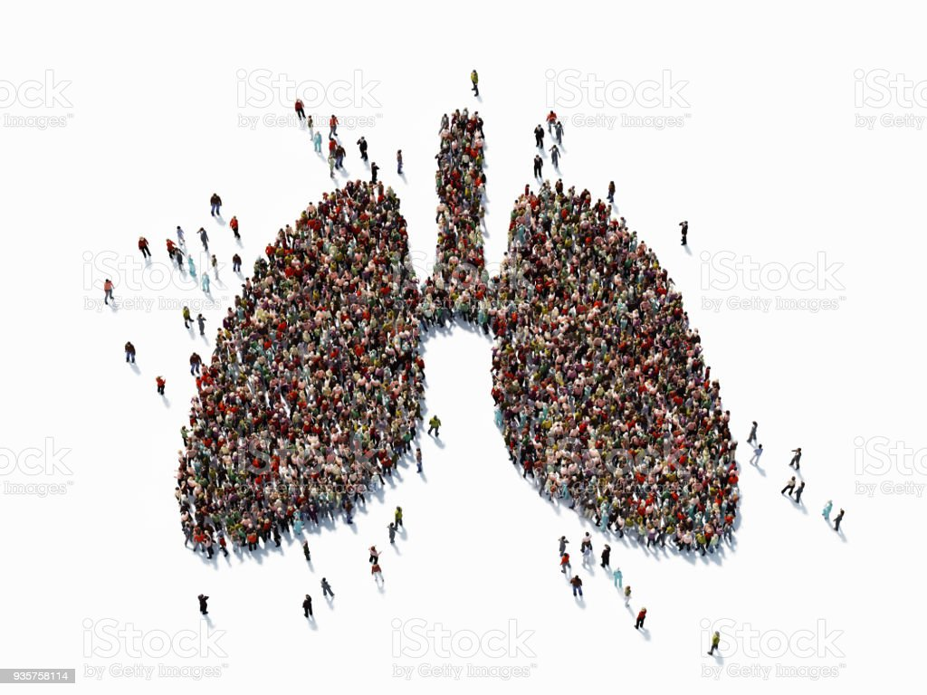 Human Crowd Forming A Big Lung Symbol stock photo