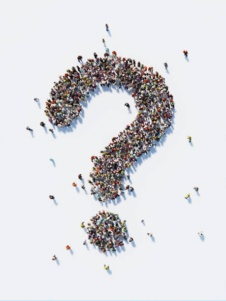 Human Crowd Forming A Big Question Mark: Social Media and Crowdfunding Concept stock photo