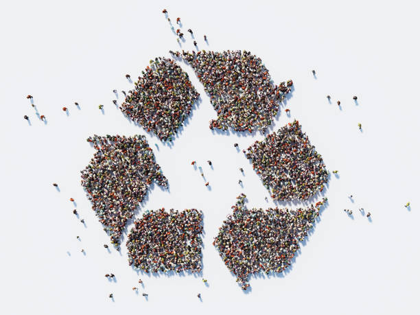 human crowd forming a big recycling symbol : social media concept - recycling symbol stock photos and pictures