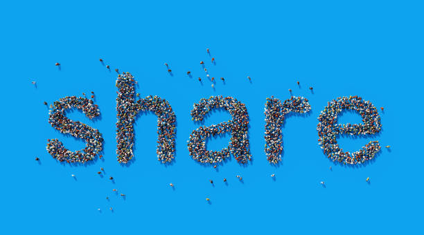 human crowd forming a big share text: social media concept - sharing stock photos and pictures