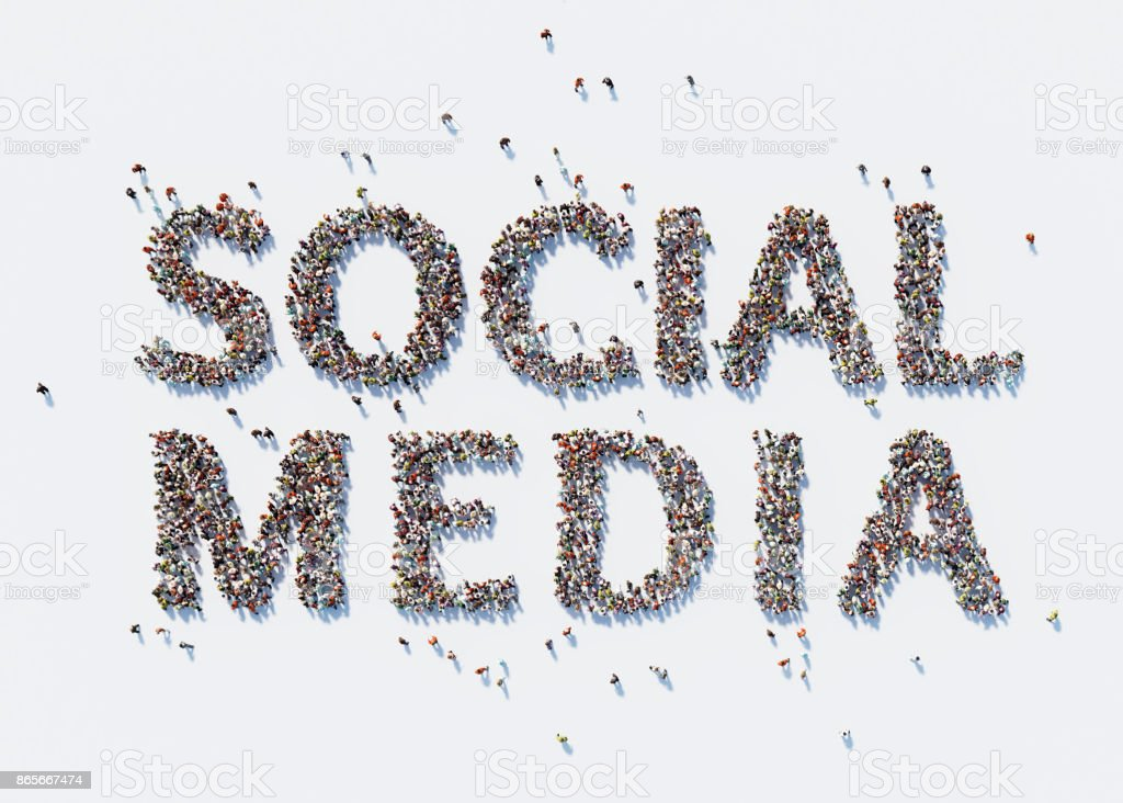 Human Crowd Forming A Big Social Media Text: Social Media Concept stock photo