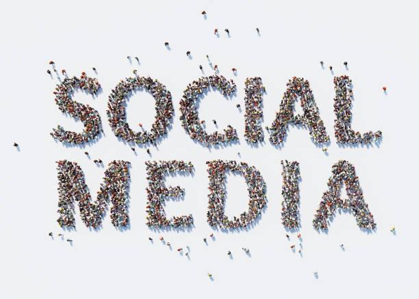 Human Crowd Forming A Big Social Media Text: Social Media Concept stock photo