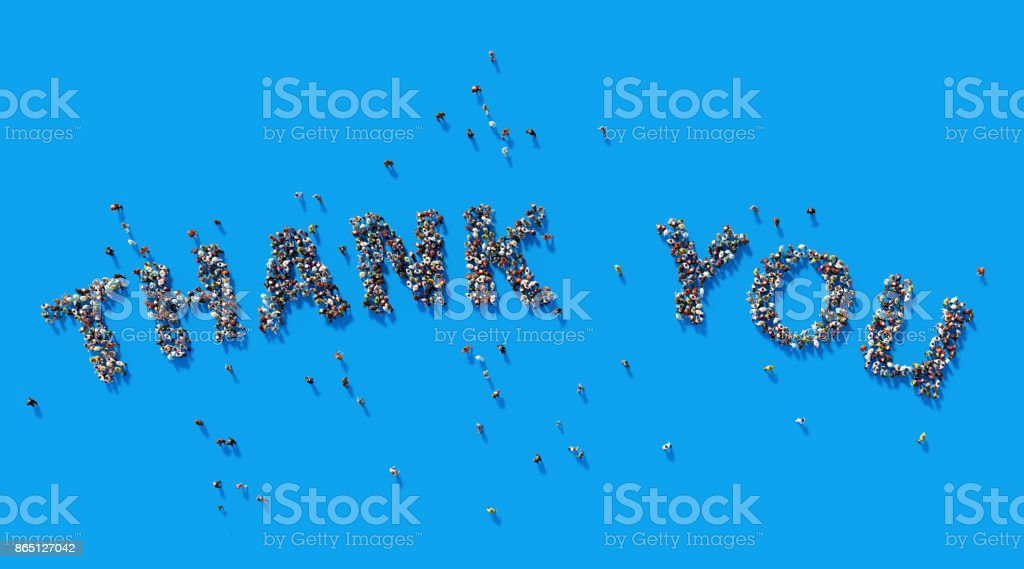 Human Crowd Forming A Big Thank You Text:  Gratitude Concept stock photo
