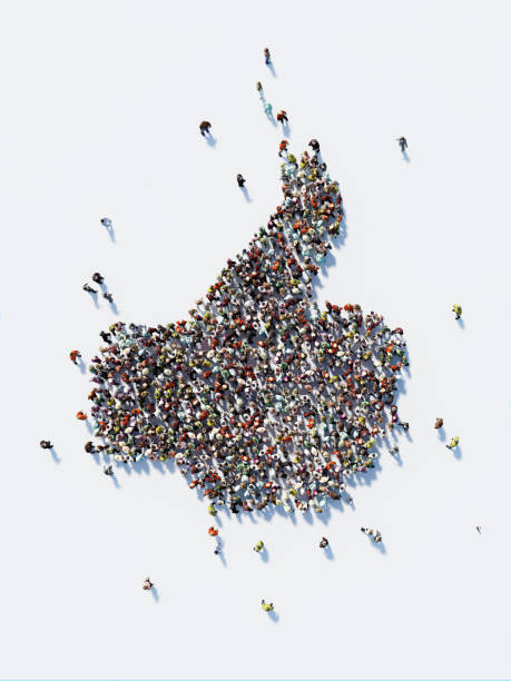Human Crowd Forming A Big Thumbs Up Icon: Social Media and Crowdfunding Concept stock photo