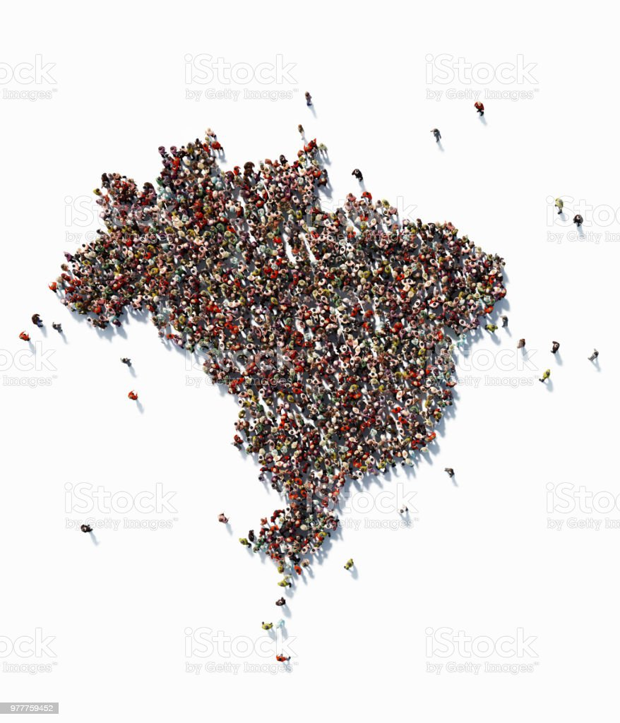 Human Crowd Forming A Brazil Map: Population And Social Media Concept stock photo