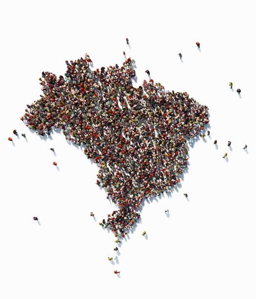 menschliche masse bilden eine brasilien-karte: bevölkerung und social-media-konzept - brasilien stock-fotos und bilder