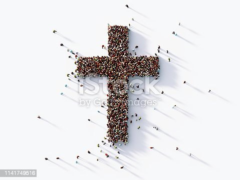 Human crowd forming a cross shape on white background. Horizontal  composition with copy space. Clipping path is included. Faith and social Media concept.